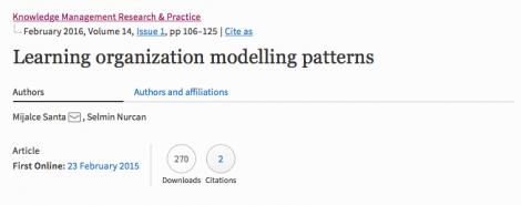 Learning Organisation Modelling Patterns
