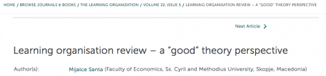 "Learning organisation review – a ""good"" theory perspective"