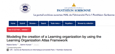 Modeling the creation of a Learning organization by using the Learning Organization Atlas Framework